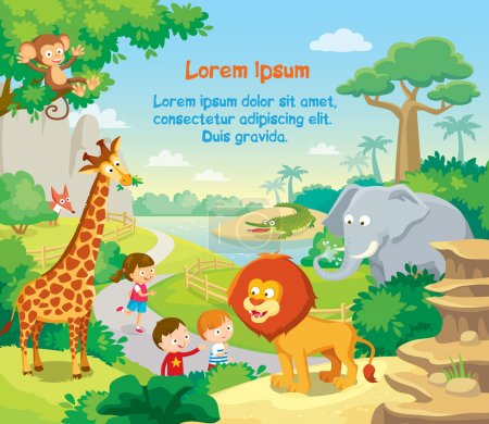 Illustration for Zoo with wild african animals, kids watching and background - Royalty Free Image