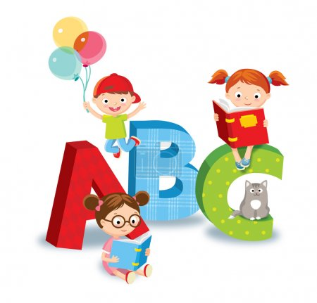 Kids with books, vector illustration...