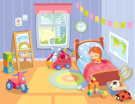 Illustration for Cozy children's bedroom interior with furniture and toys - Royalty Free Image