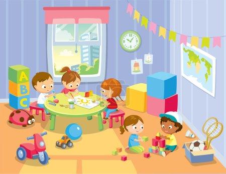 Illustration pour Grand groupe d'enfants heureux et diversifiés, garçons et filles d'âge préscolaire jouent avec de l'argile à modeler en classe à la maternelle - image libre de droit