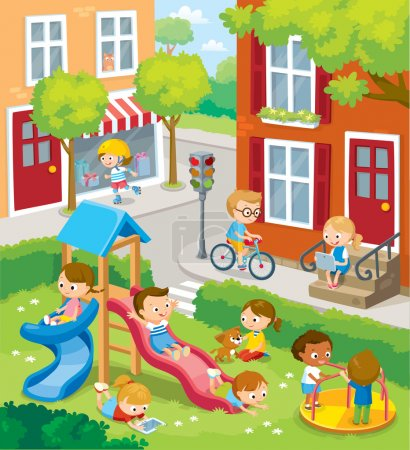 Illustration for Children playing intown. Vector illustration - Royalty Free Image