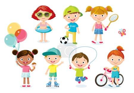 Photo pour Enfants avec des objets et des équipements sportifs - image libre de droit