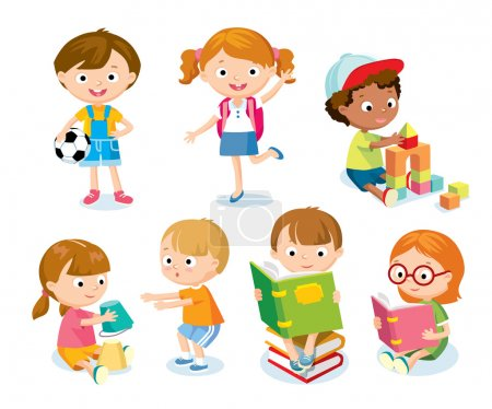 cute kids with toys and books