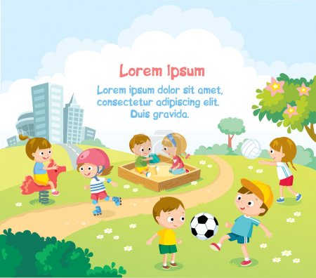 Children playing outdoors with bright summer background