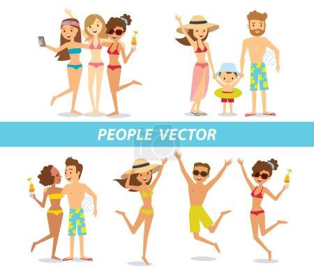 Illustration pour Ensemble de personnes qui voyagent et détente à la plage - image libre de droit