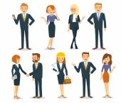 Vector set of business men and women including managers office workers architects