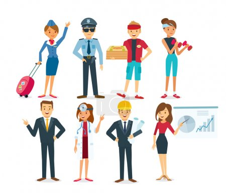 Photo pour Ensemble vectoriel de personnes ayant différentes professions - image libre de droit