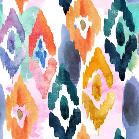 Photo for Watercolor pattern of ornamental elements - Royalty Free Image