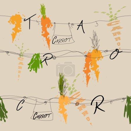 Illustration pour Texture vectorielle transparente avec beaucoup de carottes - image libre de droit
