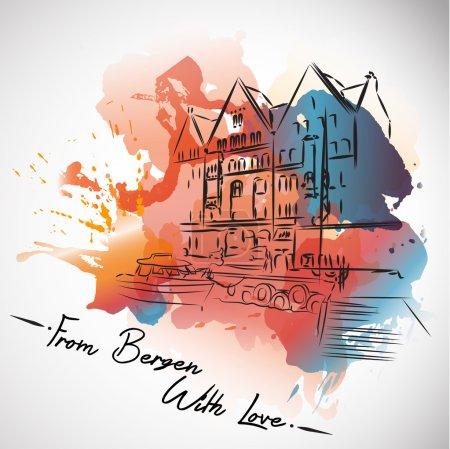 Bergen with love,postcard ,watercolor