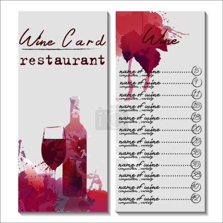 Illustration pour Carte vin restaurant avec éclaboussure aquarelle - image libre de droit