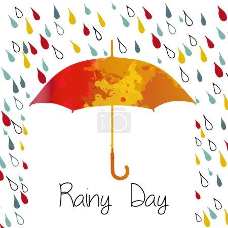 Illustration for Rainy autumn with  umbrella. Season of rains. - Royalty Free Image