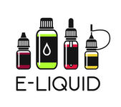 Vector icons of e-liquid for vape shop e-cigarette store