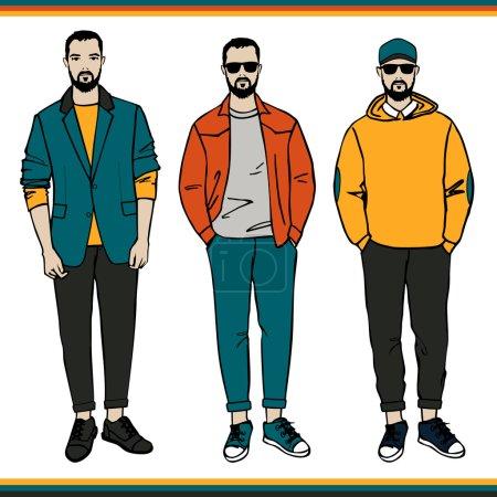 Illustration for Vector Fashion men illustration, Color print on white backgroung. - Royalty Free Image