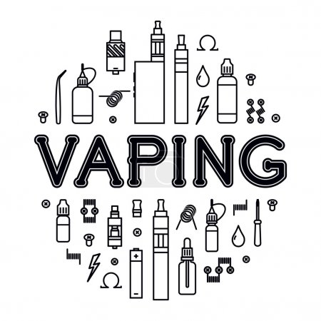 Illustration for Vector illustration of vaporizer and accessories. Vape icons set Isolated on white background. - Royalty Free Image