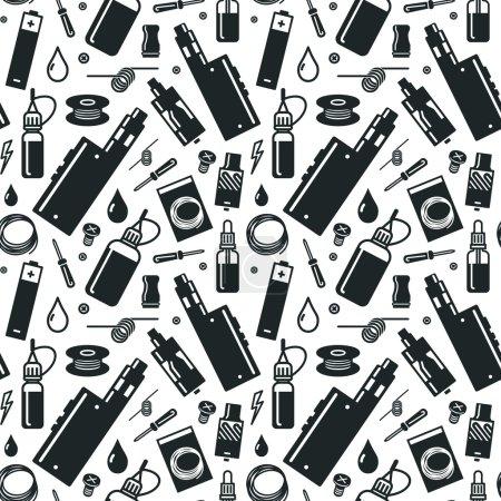 Illustration for Endless vape background. Black print on white background - Royalty Free Image