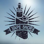 Vape shop logo on blurred background