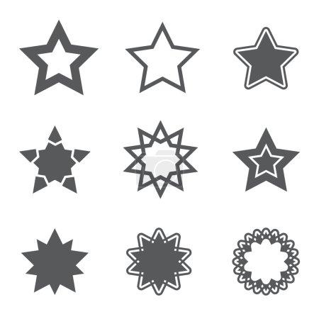 Gray simple star icons set