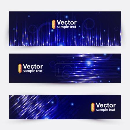 Illustration pour Bannière de musique vectorielle dans des tons bleus - image libre de droit