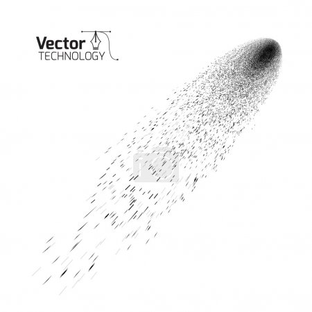 Illustration for Black Comet on a white background - Royalty Free Image