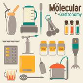 Molecular gastronomy flat set Modernist cuisine in retro colors