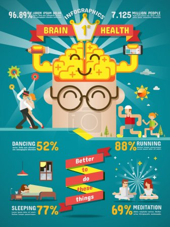 Illustration for Vector and  Illustration on making healthy brain. - Royalty Free Image