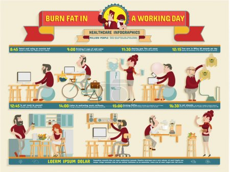 Burn fat in a working day Infographics