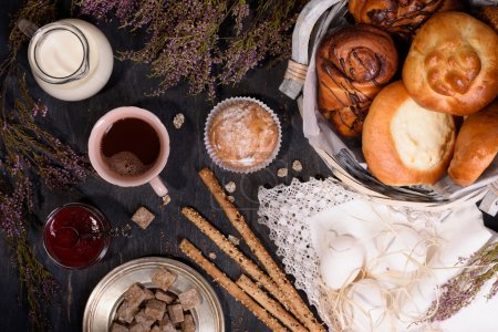 Pastries and bread sticks with ingredients