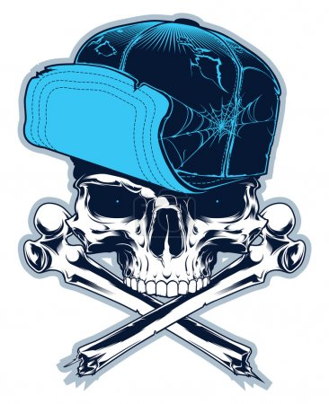 Gangster. Skull with cross bones and cap