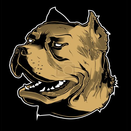 Illustration for Vector illustration Angry pitbull mascot head, on a black background - Royalty Free Image