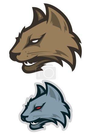 Illustration pour Logotype sport chat sauvage. Étiquette - image libre de droit