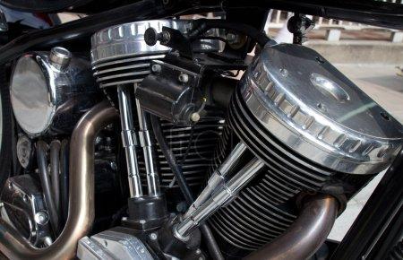 Gleaming Cylinder Head of Vintage Motorcycle Engine