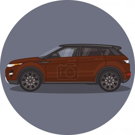 Illustration pour Range Rover Evoque icône de voiture SUV chocolat - image libre de droit