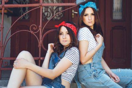 Portrait of pretty twins girls