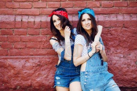 Brunette twins girls