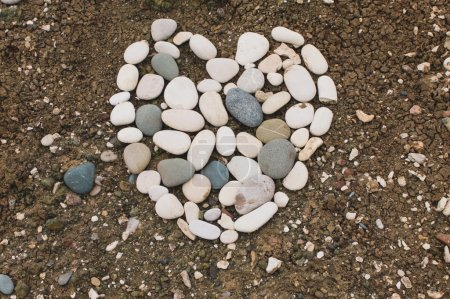 Heart made from different stones