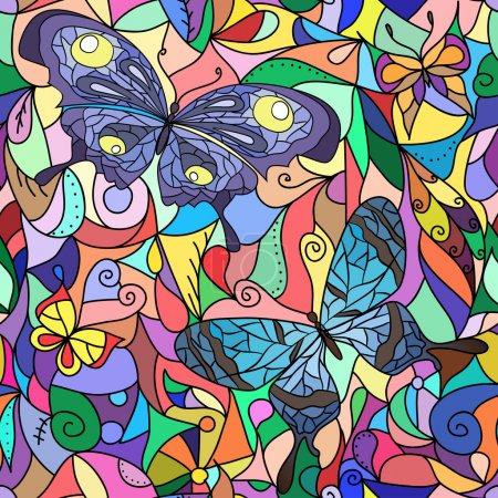 Multicolored stained-glass window, butterflies for your design.