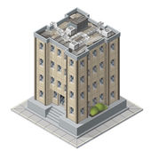 High rises isometric building icons for game