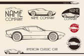 American classic sports car silhouettes