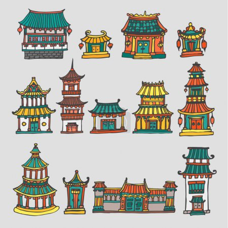Set of colorful vector asian temples and manor houses