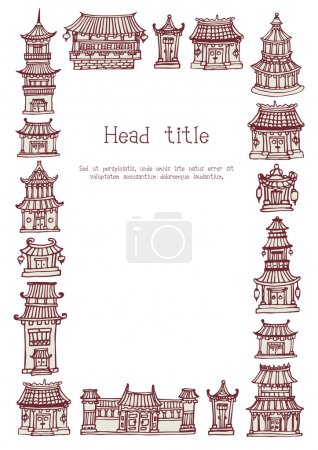 Template with asian temples and manor houses
