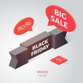 Černý pátek prodej nápisu. Izometrické vektorové ilustrace