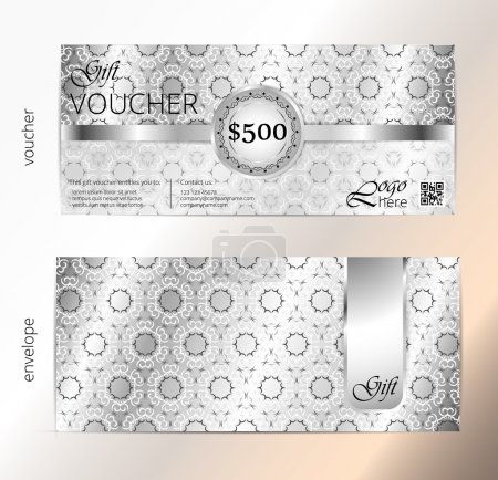 Voucher and envelope set, Gift certificate, Luxury Coupon template. Floral, scroll pattern. Background design for invitation, ticket, cheque. Black, gold, silver vector