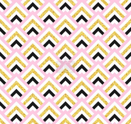 Geometric pink black and gold glittering seamless pattern on white background.