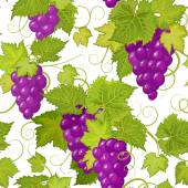 Vector seamless pattern with violet grapes and green leaves