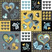 Patchwork colorful with hearts and butterfly Seamless pattern Golden glittering elements Scrapbooking series