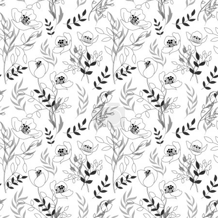 Black and white pattern poppies, cute seamless background, seamless floral illustrations. Dashed line drawing flowers and leaves on black