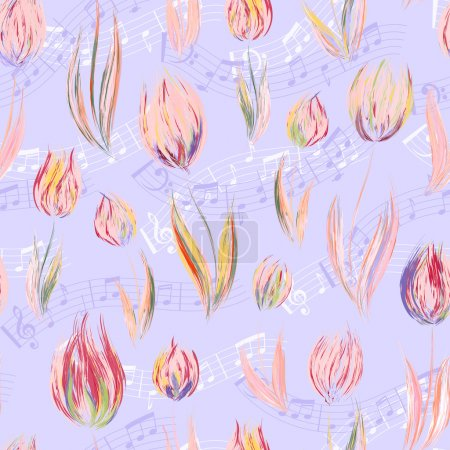 Bright seamless pattern with oil painted pastel blue pink tulip flowers end notes