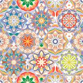 Seamless pattern vintage decorative elements Hand drawn geometric background Islam Arabic Indian ottoman motifs Perfect for printing on fabric or paper Blue orange tone