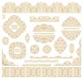 Big vector set of ornate art frames vignettes and border